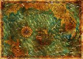 Antique Pirate Treasures Map With Old Ship, Gulls And Continents. Pirate Adventures, Treasure Hunt A poster