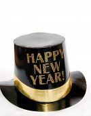 image of new years celebration  - black and gold new year hat to celebrate the new year - JPG