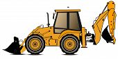 Yellow Backhoe Loader On A White Background. Construction Machinery. Special Equipment. Vector Illus poster
