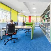 Colorful Library Interior With Computer Workstation And Modern Shelving poster