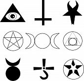 stock photo of wiccan  - Pagan Occult Wiccan vector symbols on white - JPG