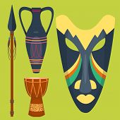 African Vector Mask Djembe Drum And Vase Music Traditional Instrument Ethnic Sound Rhythm Masking Mu poster