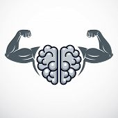 Power Brain Emblem, Genius Concept. Vector Design Of Human Anatomical Brain With Strong Bicep Hands  poster