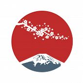 Cherry Blossom Branch With Red Sun In Asian Style. Sakura Blossom And Sunrise. Japanese Symbols Moun poster