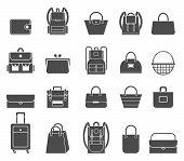 Shopping Icons Set. Bag Icons. Set Of Stylish Women S Handbags - Tote, Shopper, Hobo, Bucket, Satche poster