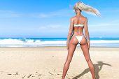 3d Beautiful Sun-tanned Woman Turquoise Swimsuit Bikini On Sea Beach. Summer Rest. Blue Ocean Backgr poster