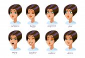 Brunette Woman Character Expressions Set. Calmness, Happy, Suspicion, Fear, Angry, Laughter, Sadness poster