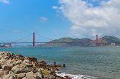 Famous Golden Gate Bridge, San Francisco At Night, Usa. Golden Gate Bridge Vivid Day Landscape. poster