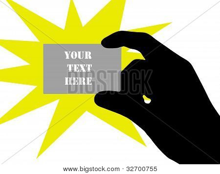 Holding a blank business card