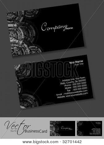 Professional or designer business cards, template or visiting card set. Artistic abstract design, black color, corporate look, EPS 10 Vector illustration.
