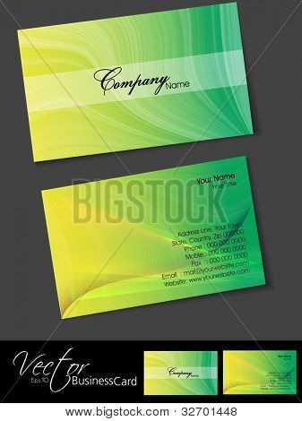 Professional business cards, template or visiting card set. Artistic wave effect, yellow and green color, abstract corporate look, EPS 10 Vector illustration.