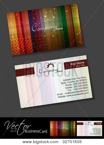 Professional or designer business cards, template or visiting card set. Artistic colorful lines, abstract corporate look, EPS 10 Vector illustration.
