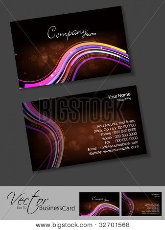 Professional business cards, template or visiting card set. Artistic colorful wave effect, brown color, abstract corporate look, EPS 10 Vector illustration.