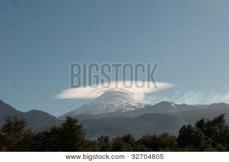 Double Cones Of The Villarica Volcano In Chile