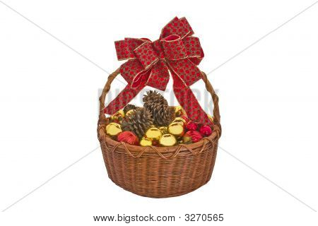 Basket Full Of Christmas Ornaments