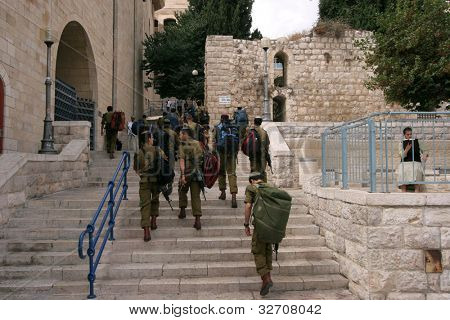JERUSALEM - OCTOBER 03: Members of the Israeli Border Police in the Old City October 03, 2006 in Jerusalem, Israel. They are deployed for law enforcement in the West Bank and Jerusalem.
