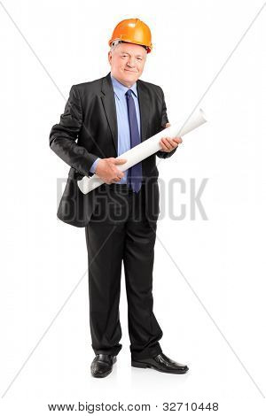 Full length portrait of a mature construction worker holding blueprints isolated on white background