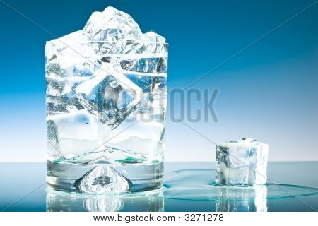 Cool Blue Iced Glass Water