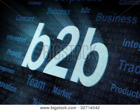 Pixeled Word B2B On Digital Screen
