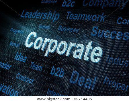 Pixeled Word Corporate On Digital Screen