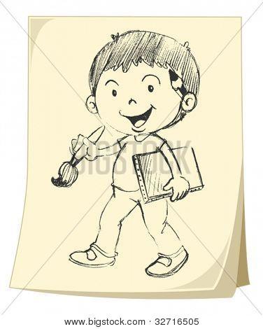 Illlustration of a boy on paper (sketch)