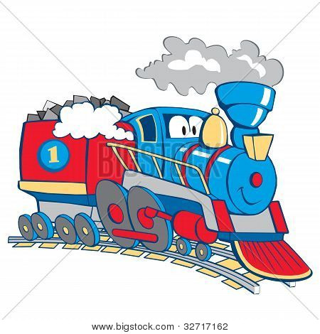 Cartoon train, white background