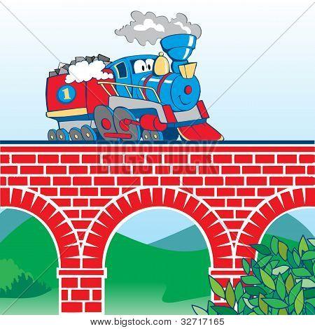 Cartoon train on the bridge