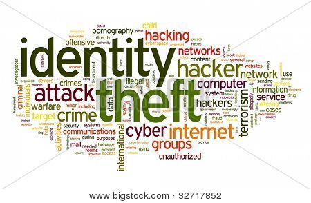 Identity theft concept in word tag cloud isolated on white background
