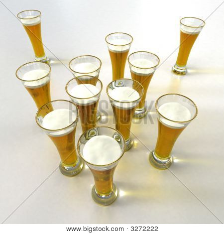 Aerial View With Lots Of Beer Glasses