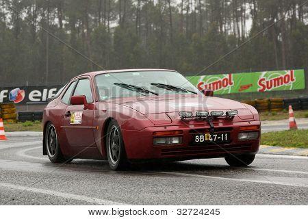 Leiria, Portugal - April 20: Paulo Ribeiro Drives A Porsche 944 Turbo During Day One Of Rally Verde