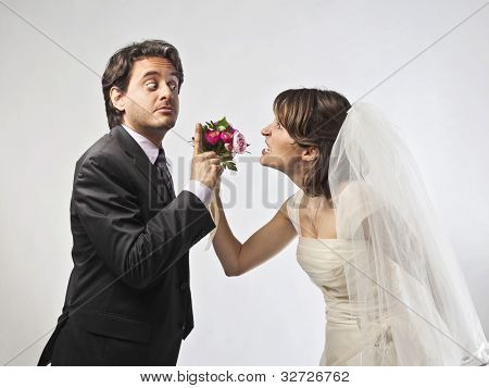 Bride and groom quarreling