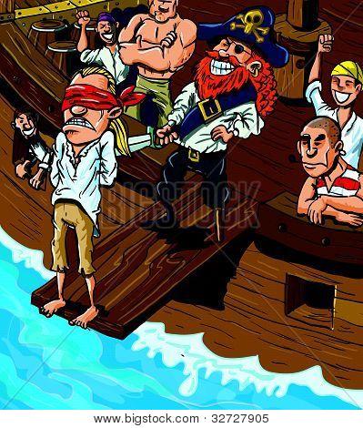 Pirata desenho animado caminhar na prancha do barco