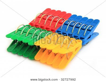 Set Pegs Isolated On A White Background