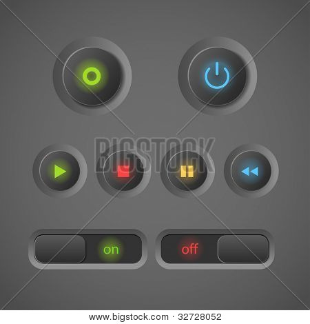 Glowing dark interface control buttons collection