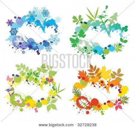 Vector set of seasons design elements