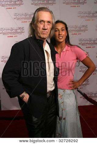 LOS ANGELES - JUN 18: David Carradine, daughter Kansas Carradine at the premiere of 'Charlie's Angels: Full Throttle' on June 18, 2003 in Los Angeles, California