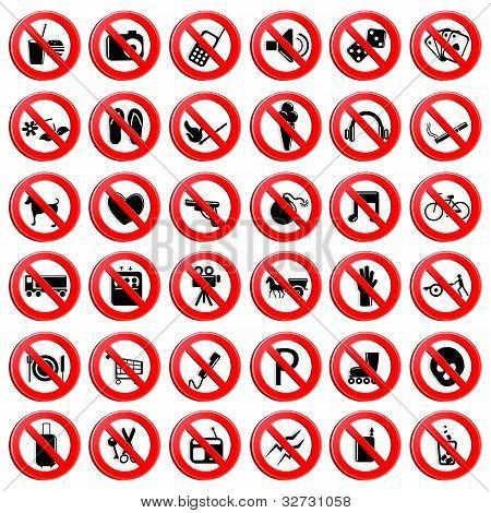 Set of Prohibition Symbol