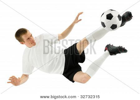 Skilled Soccer Player In Midair
