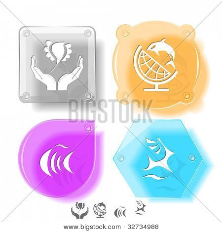 Animal icon set. Deer, fish, bird in hands, globe and shamoo.  Glass buttons. Vector illustration. Eps10.