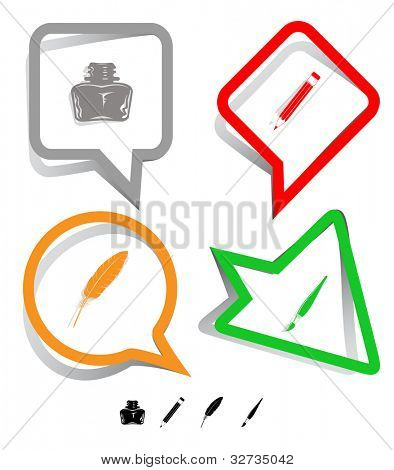 Education icon set. Brush, inkstand, feather, pencil. Paper stickers. Vector illustration.