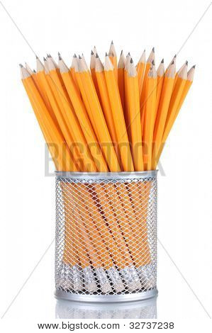 lead pencils in metal cup isolated on white