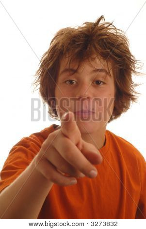 Cute Young Teen Boy Pointing