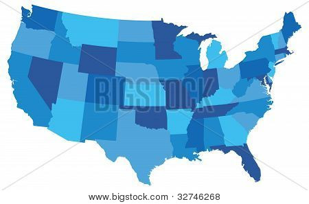 Blue Usa State Map
