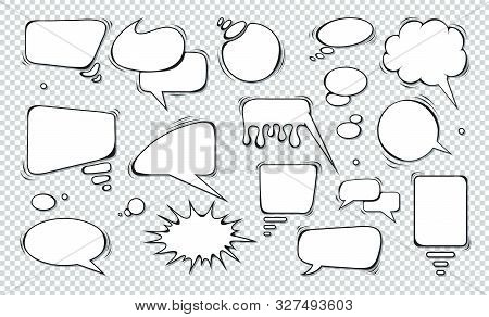 poster of Comic Speech Bubbles. Set Of Speech Bubbles. Empty Dialog Clouds. Illustration For Comics Book, Soci
