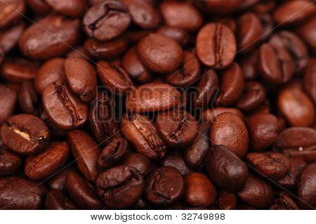 Dark coffee beans in low key
