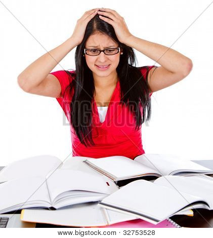 Frustrated female student with books - isolated over a white background
