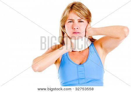 Woman in pain wearing a surgical collar on her neck - isolated over white