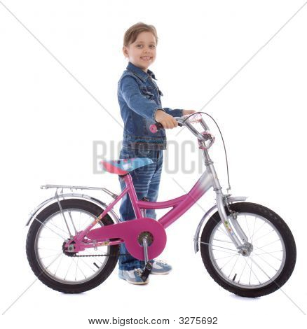 Young Girl Isolated On White Stay With Her Bike