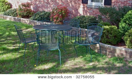 Patio set in the lawn