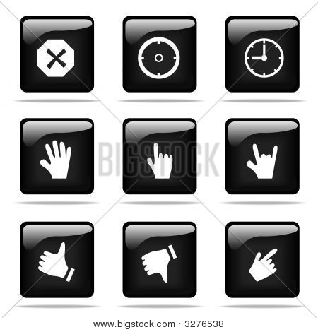 Set Of Glossy Buttons With Icons